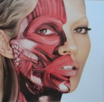 """Damien Hirst's portrait of Kate Moss from TAR Magazine to his """"Use Money, Cheat Death"""" 12"""" single cover."""
