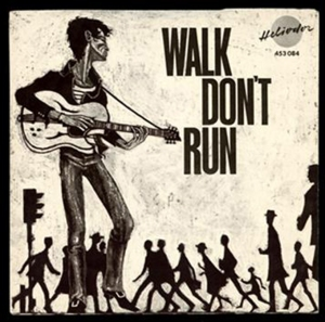 "Cover of The Typhoons' single ""Walk Don't Run""."