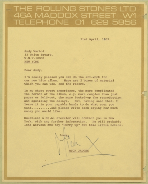 Mick Jagger's 1969 letter to Andy Warhol sending him material and a copy of Sticky Fingers and asking him to design somerthing wild.
