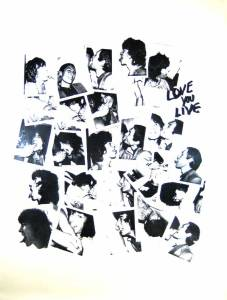 "Warhol's Polaroid photographs on the ""Love You Live"" launch tablecloth."