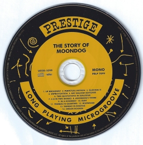 The CD with a recreated Prestige record label.