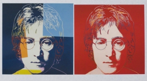 Andy Warhol's two portraits of John Lennon.