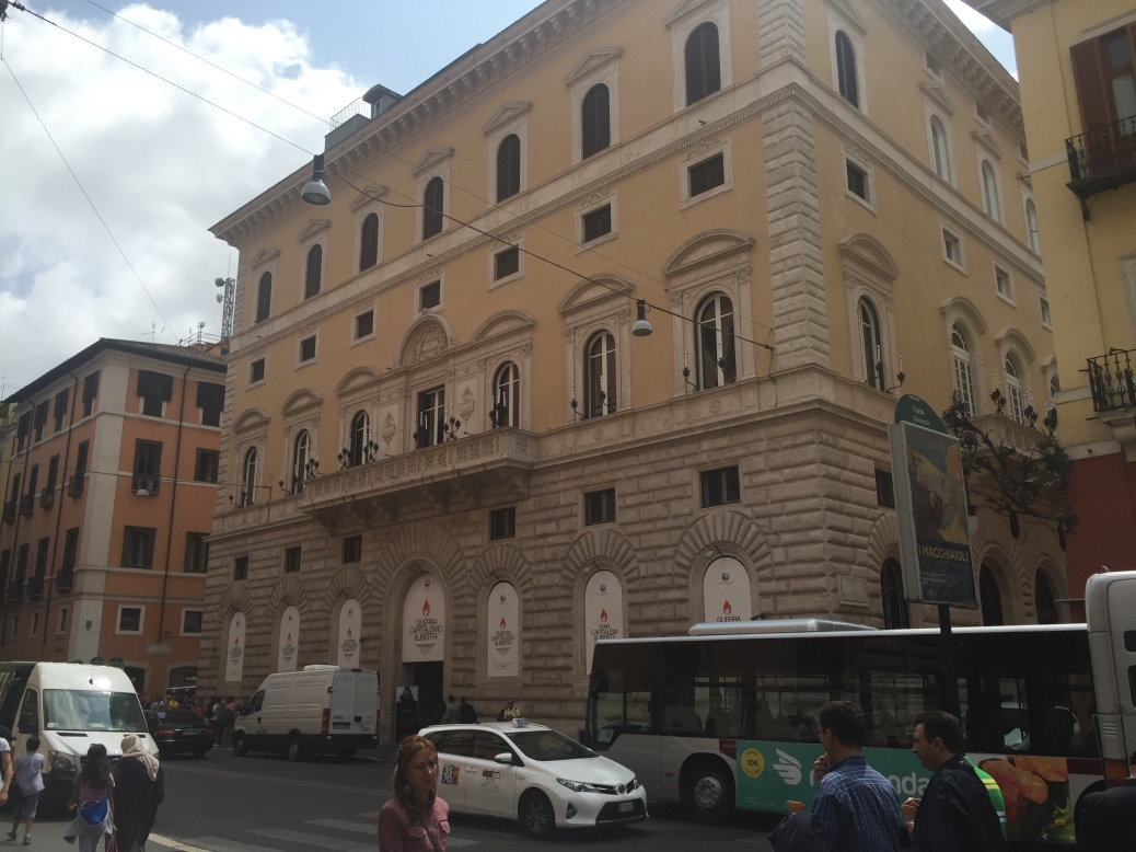 Palazzo Cipolla with the War, Capitalism & Liberty Exhibition.
