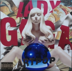 "Front and rear covers of Lady Gaga's ""ArtPop"" album."