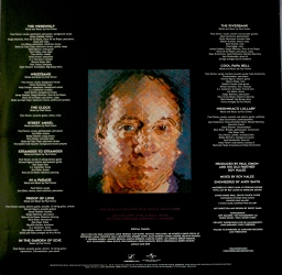 The lyric insert with Chuck CLose's portrait of Paul Simon and a close-up of the study.