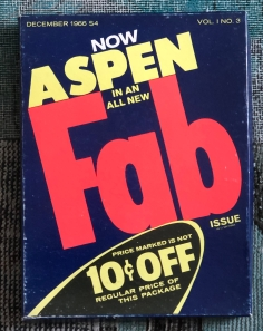 The pop art edition of Aspen Magazine produced by David Dalton and Andy Warhol in December 1966.
