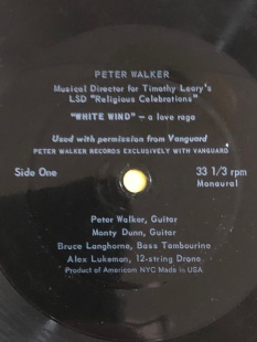 "The ""A"" side of the Aspen Magazine flexidisc. Peter Walker's ""White Wind""."