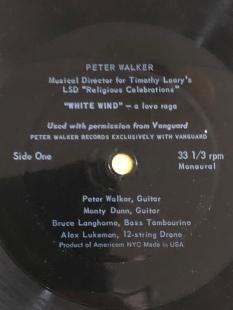 "The ""A"" side of the Aspen Magazine flexidisc. Peter Walker's ""White Wind""."