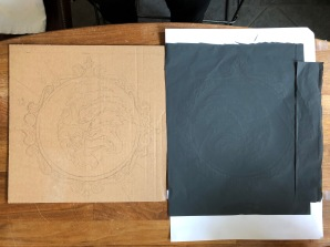 The tracing from graphite paper to wellpap.